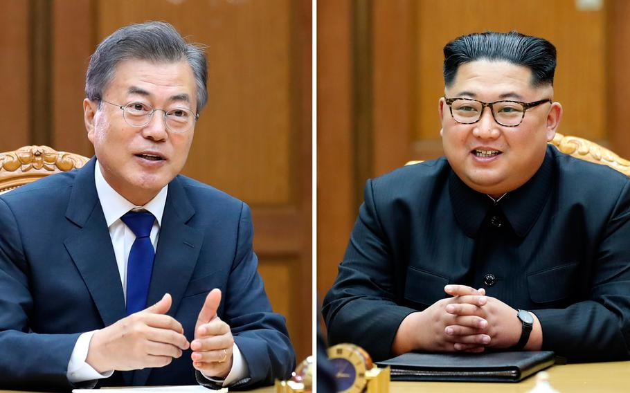 This combination of the May 26, 2018 provided May 27, 2018, by South Korea Presidential Blue House via Yonhap News Agency, shows South Korean President Moon Jae-in, left, and North Korean leader Kim Jong Un, right, during their meeting at the northern side of the Panmunjom in North Korea.