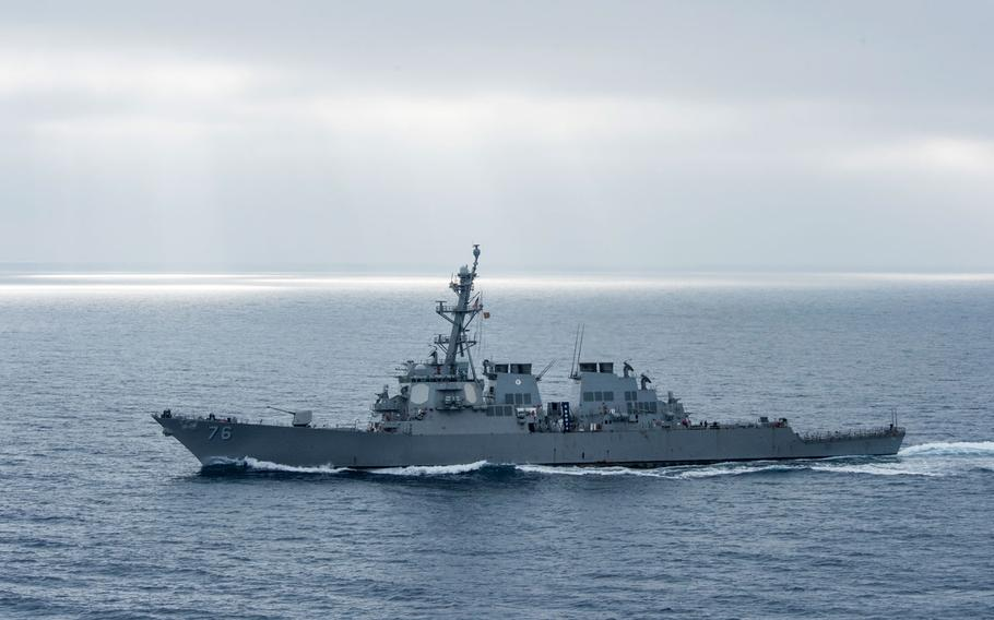 The guided-missile destroyer USS Higgins (DDG 76) transits the Pacific Ocean last year during a strait transit show of force exercise.