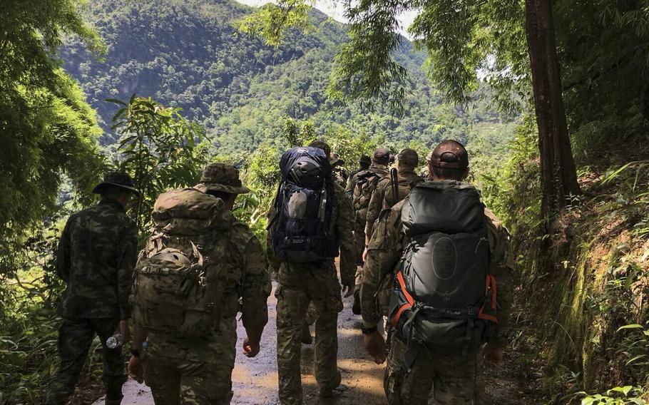 Airmen from the U.S. Indo-Pacific Command conduct a combined land survey with Royal Thai Army partners on June 29, 2018, at Chiang Rai, Thailand. The search and rescue team was sent to Tham Luang cave in Northern Thailand at the request of the Royal Thai government to assist in the rescue of the missing Thai soccer players and their coach.