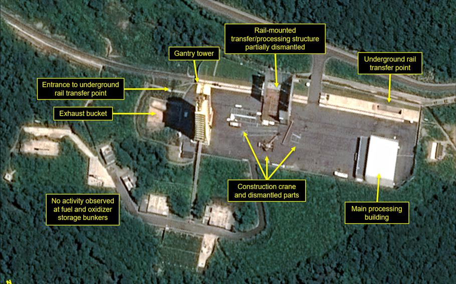 """Satellite images show key facilities, including the rocket engine test stand, being razed at the Sohae Satellite Launching Station, according to 38 North. North Korea has taken """"an important first step"""" toward fulfilling a promise made during its summit with the United States by starting to dismantle the key missile testing site, a monitoring website said Monday."""