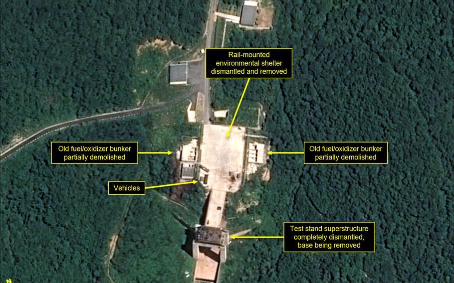Satellite images show key facilities, including the rocket engine test stand, being razed at the Sohae Satellite Launching Station, according to 38 North.