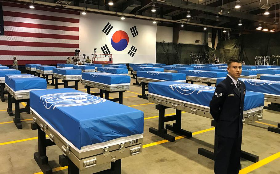 Remains recently handed over by North Korea are seen before a ceremony at Osan Air Base, South Korea, Wednesday, Aug. 1, 2018.