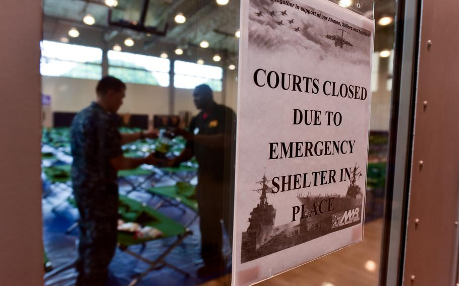 Morale Welfare and Recreation employees and Joint Base Pearl Harbor-Hickam personnel go over the emergency preparation kits at the base fitness center as Hurricane Lane approaches Hawaii.