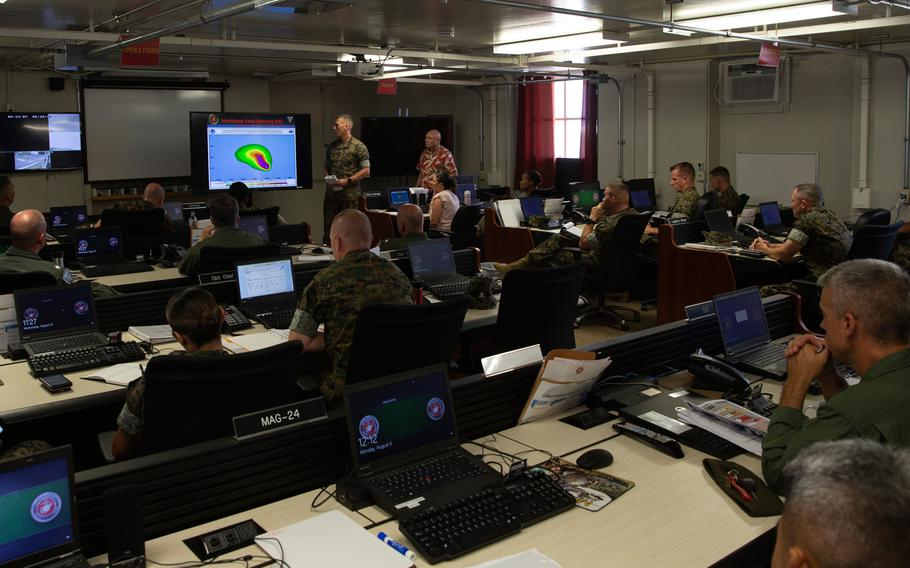Leadership from across Marine Corps Base Hawaii gather aboard to discuss the security, safety, and well-being of the base and local community with the arrival of Hurricane Lane. Aug 22, 2018.