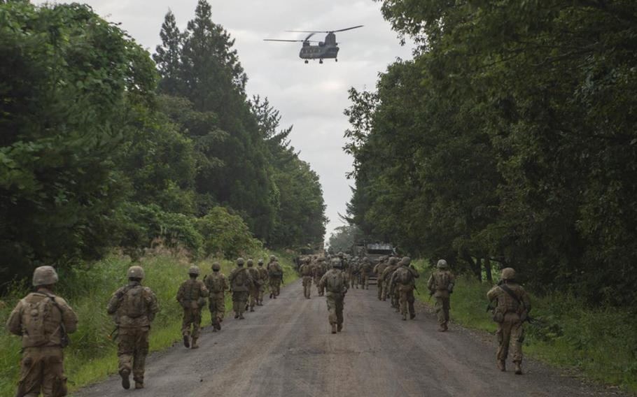 Soldiers from the Indiana National Guard's 76th Infantry Brigade Combat Team march to their position during the field training exercise portion of Orient Shield 2018.