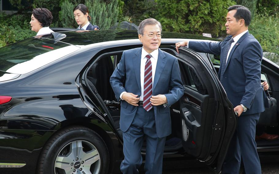 South Korean president Moon Jae-in prepares to leave for Pyongyang for the latest series of summits with North Korean leader Kim Jong Un on September 18, 2018.