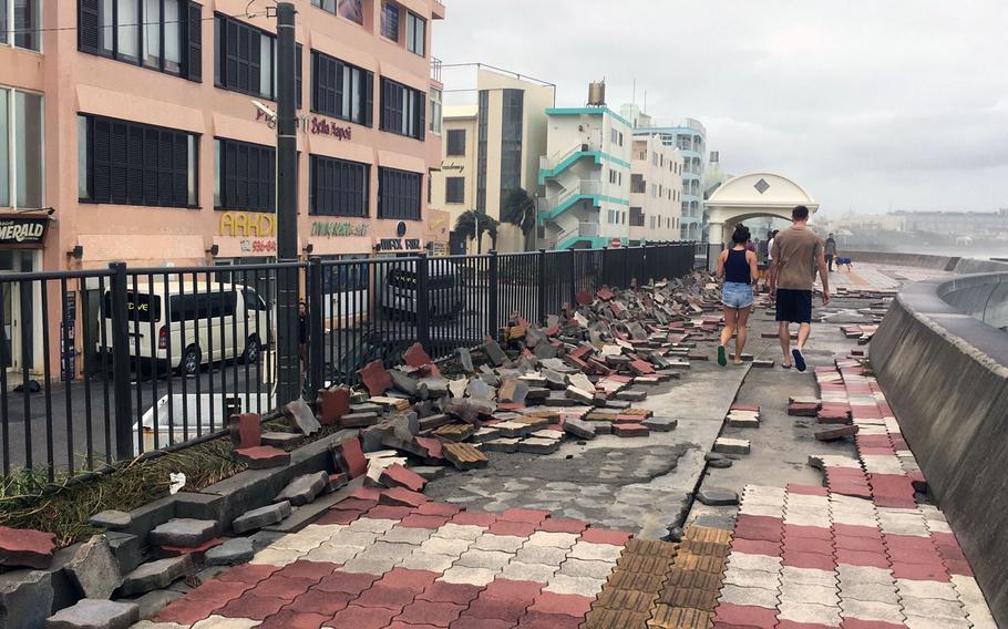 Sunabe Seawall  near Kadena Air Base reflects the damage caused by Typhoon Trami on Sunday, Sept. 30, 2018.