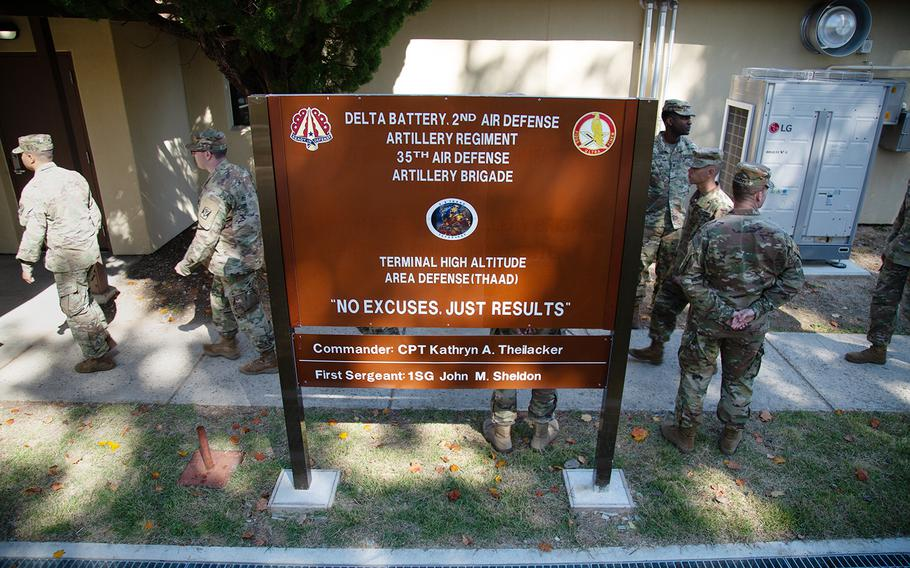 The new Delta Battery, 2nd Air Defense Artillery Regiment building is seen during a ribbon-cutting ceremony at Camp Carroll, South Korea, Friday, Oct. 19, 2018.