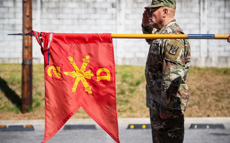 The Delta Battery, 2nd Air Defense Artillery Regiment guidon is seen during a ribbon-cutting ceremony at Camp Carroll, South Korea, Friday, Oct. 19, 2018.