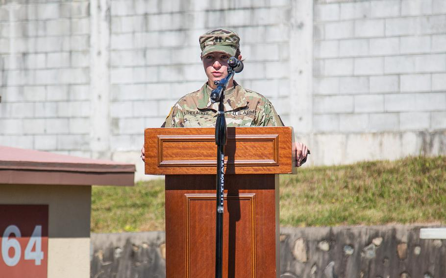Capt. Kate Theilacker, commander of Delta Battery, 2nd Air Defense Artillery Regiment, speaks during a ribbon-cutting ceremony at Camp Carroll, South Korea, Friday, Oct. 19, 2018.