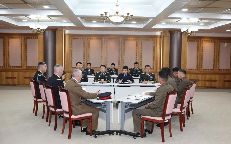 Military officials from South Korea, North Korea and the U.S.-led United Nations Command meet in the truce village of Panmunjom on Monday, Oct. 22, 2018.