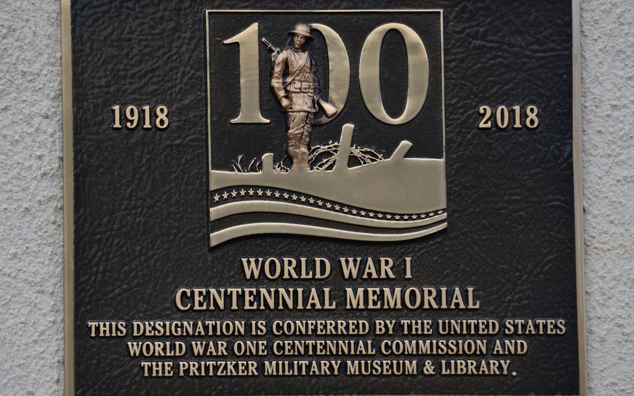 The World War I centennial memorial plaque unveiled Friday, Nov. 2, 2018, at the Waikiki Natatorium War Memorial, Honolulu.