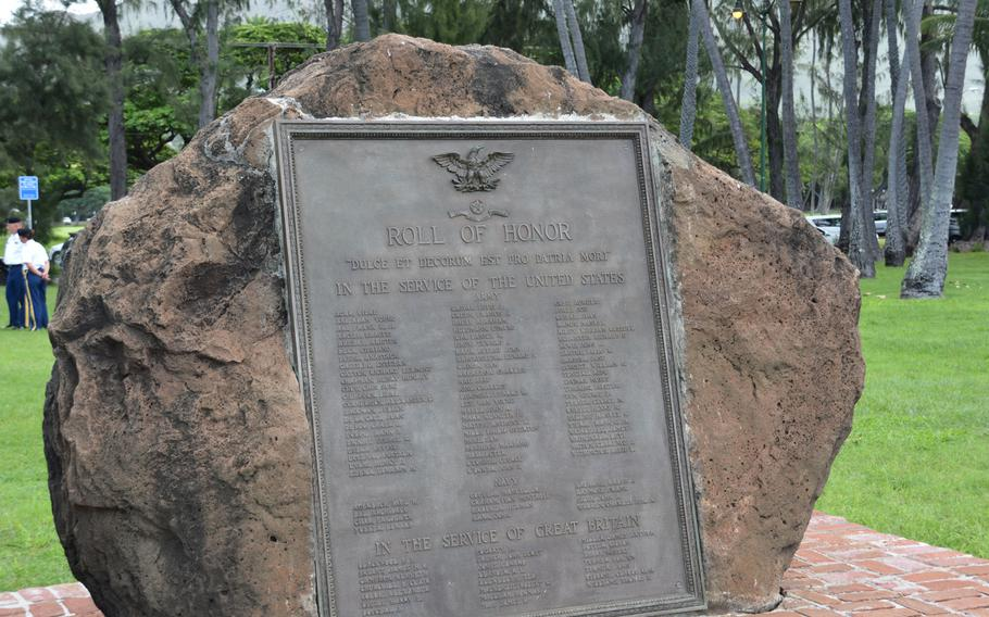 """A """"Roll of Honor"""" monument lists the Hawaiian men who died fighting in World War I. It stands near the Waikiki Natatorium War Memorial, commemorating those who fought in that war."""