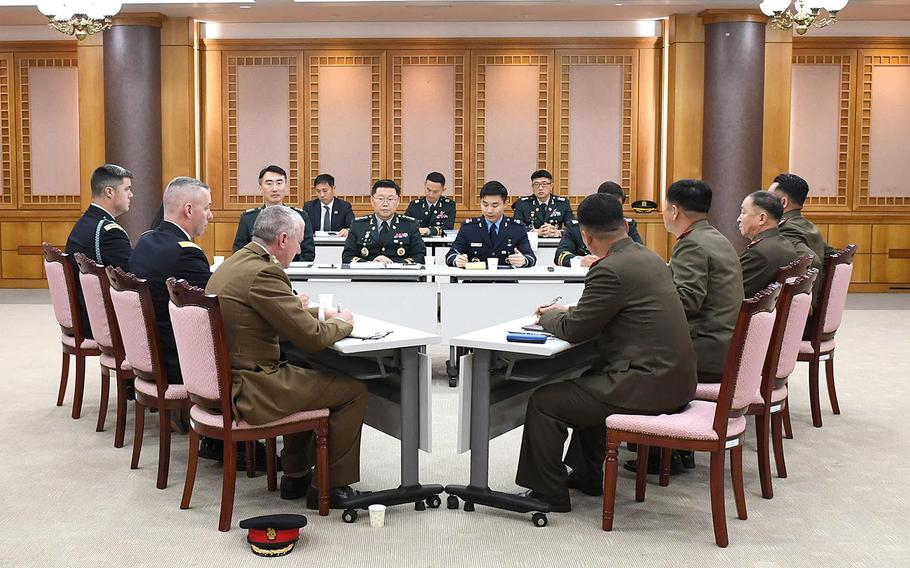 Military officials from the two Koreas and the U.S.-led United Nations Command meet in the southern half of the truce village of Panmunjom on Tuesday, Nov. 6, 2018.
