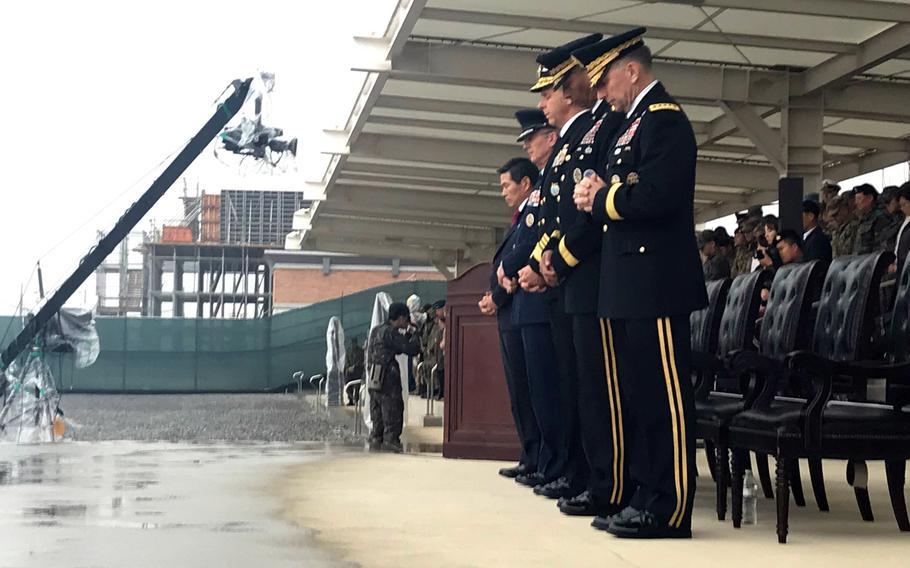 Gen. Robert Abrams assumed command of U.S. Forces Korea during a ceremony at Camp Humphreys, South Korea, Thursday, Nov. 8, 2018.