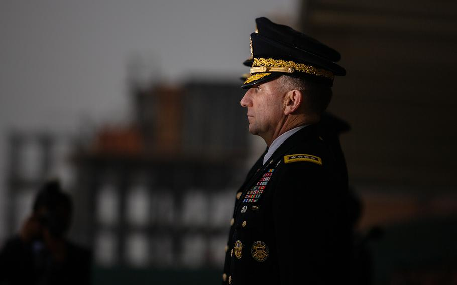 Gen. Robert Abrams, incoming commander of U.S. Forces Korea, takes part in a change-of-command ceremony at Camp Humphreys, South Korea, Thursday, Nov. 8, 2018.