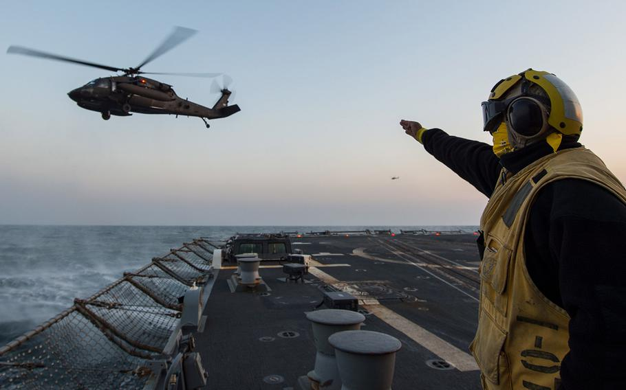 Petty Officer 2nd Class Laurence Cerezo conducts flight operations with a U.S. Army UH-60 Black Hawk helicopter as part of exercise Foal Eagle 2017. The U.S. and South Korea will scale back their annual Foal Eagle exercise, Defense Secretary Jim Mattis said on Wednesday, Nov. 21, 2018.