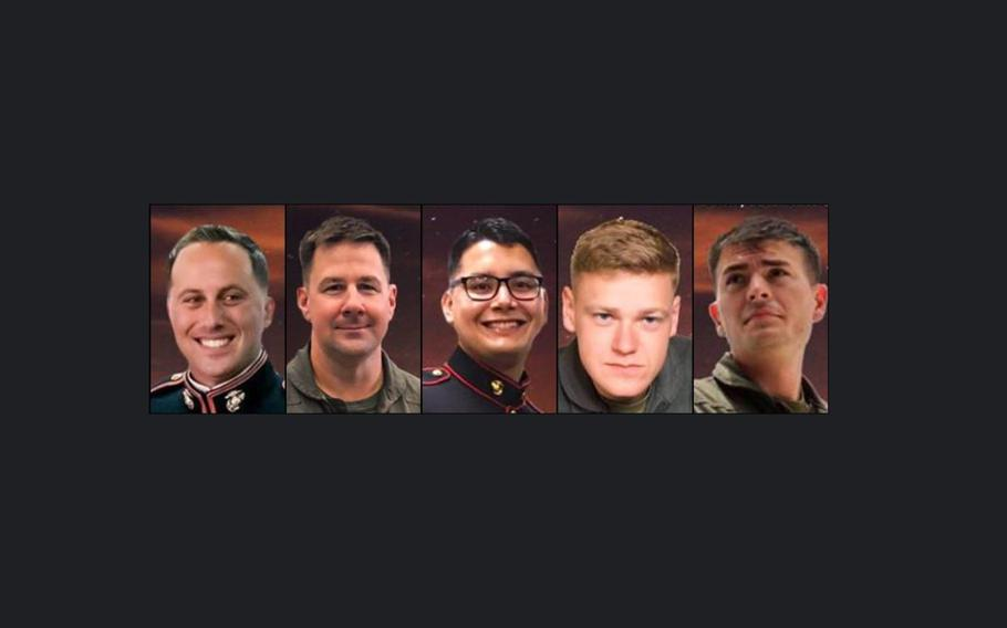 Maj. James Brophy, Lt. Col. Kevin Herrmann, Staff Sgt. Maximo Flores,  Cpl. Daniel Baker and Cpl. William Carter Ross were the five Marines who were declared dead after their KC-130J Hercules collided with an F/A-18 Hornet on Dec. 6, 2018.