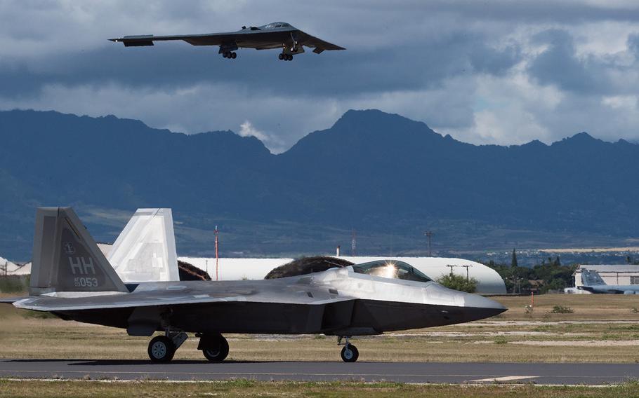 A B-2 Spirit bomber deployed from Whiteman Air Force Base, Mo, lands at Joint Base Pearl Harbor-Hickam, Hawaii, Jan. 10, 2019.