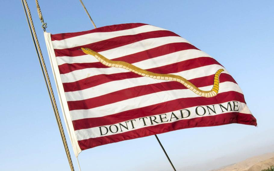 """The First Navy Jack features a rattlesnake and the words """"DON'T TREAD ON ME"""" on a red-and-white striped background."""