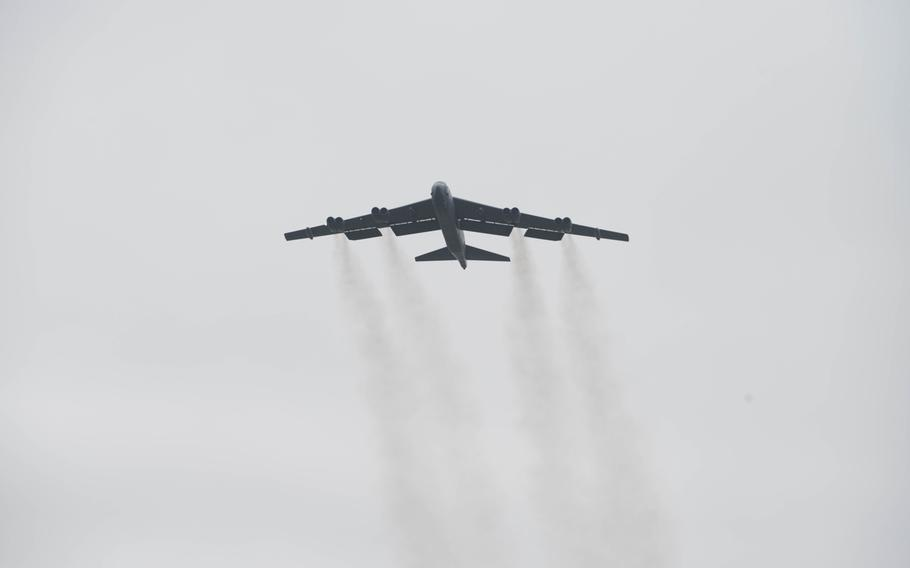 An Air Force B-52 Stratofortress deployed from Barksdale Air Force Base, La., takes off from RAF Fairford, England, March 21, 2019.