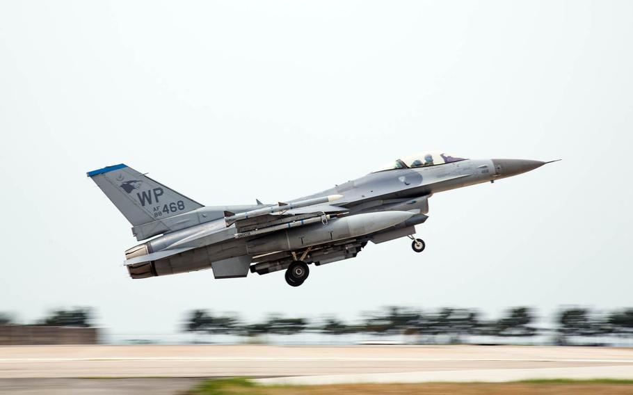 An Air Force F-16 takes off at Kunsan Air Base, South Korea, during Max Thunder 17, Tuesday, April 25, 2017. The U.S. and South Korea launched joint air force drills Monday, April 23, 2019, as an alternative to Max Thunder.