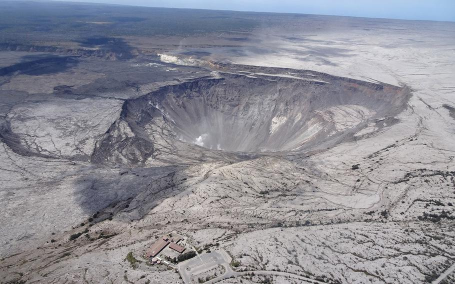 An aerial view of the Kilauea summit from 2018.