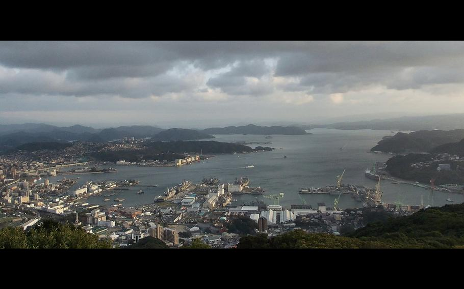 A view of the Port of Sasebo from Mount Yumihari observatory.