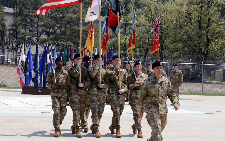 The 2nd Infantry Division held a patch ceremony on Camp Casey, South Korea, to welcome Col. Gene Meredith as the new deputy commanding officer for maneuver on Thursday, May 23, 2019.