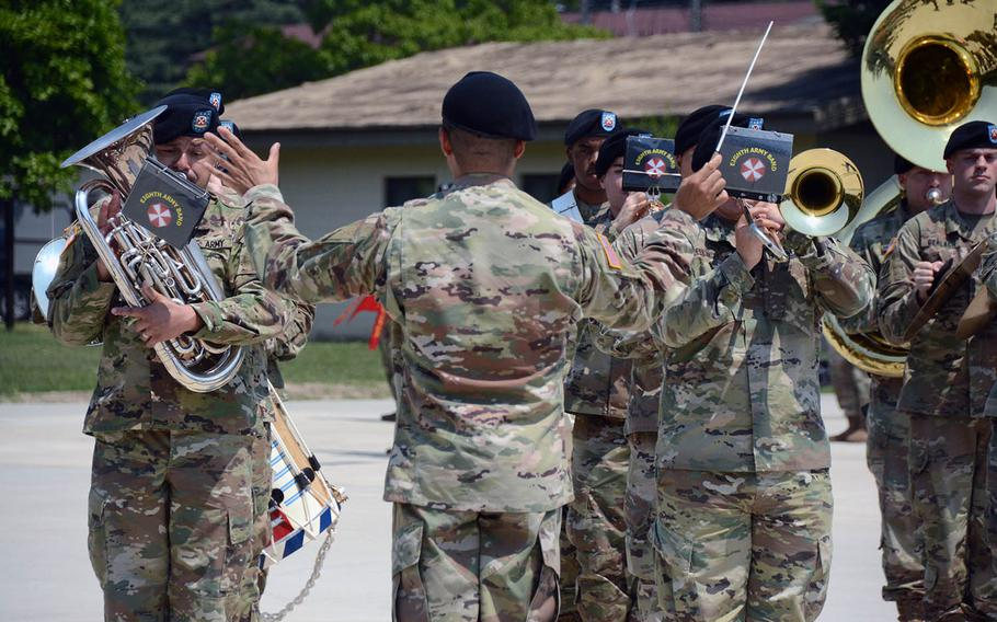 The U.S. 8th Army Band plays during incoming Col. Gene Meredith's change-of-command ceremony at Camp Casey, South Korea, on Thursday, May 23, 2019.