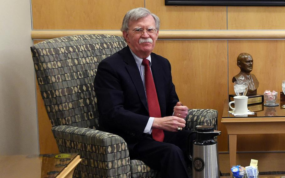U.S. national security adviser John Bolton, seen here in Feburary at Offutt Air Force Base, Neb., told reporters in Tokyo on Saturday, May 25, 2019, that a series of short-range missile tests by North Korea last month were a violation of U.N. Security Council resolutions.