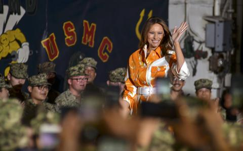 First lady Melania Trump greets servicemembers abo.