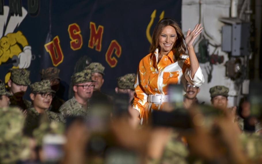 First lady Melania Trump greets servicemembers aboard the amphibious assault ship USS Wasp at Yokosuka Naval Base, Japan, Tuesday, May 28, 2019.