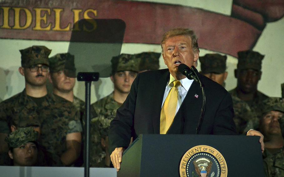 President Donald Trump speaks to servicemembers aboard the USS Wasp at Yokosuka Naval Base, Japan, Tuesday, May 28, 2019.