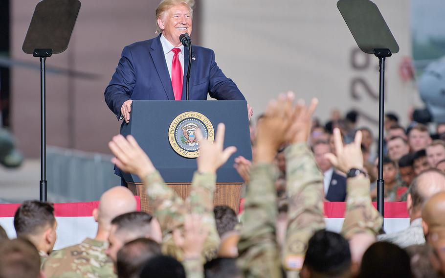 President Donald Trump speaks to servicemembers and families on Osan Air Base, South Korea, Sunday, June 30, 2019.