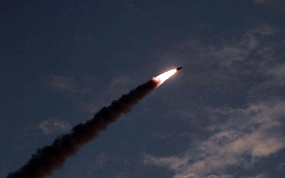 A short-range missile is launched in this undated photo released by the Korean Central News Agency, Friday, July 26, 2019.
