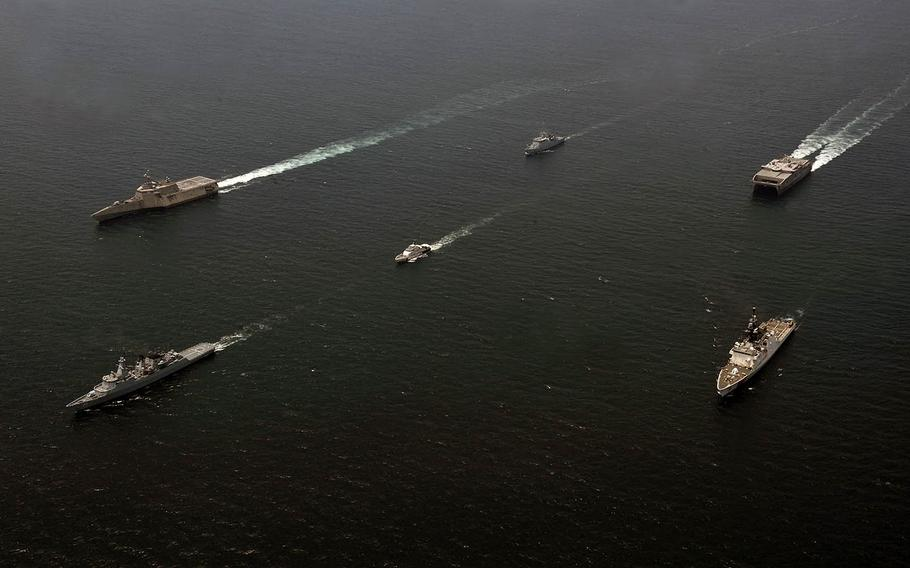 Ships of the U.S. Navy, Malaysian Maritime Enforcement Agency and Royal Malaysian Navy sail together as part of Maritime Training Activity Malaysia 2019 on Friday, Aug. 16, 2019.
