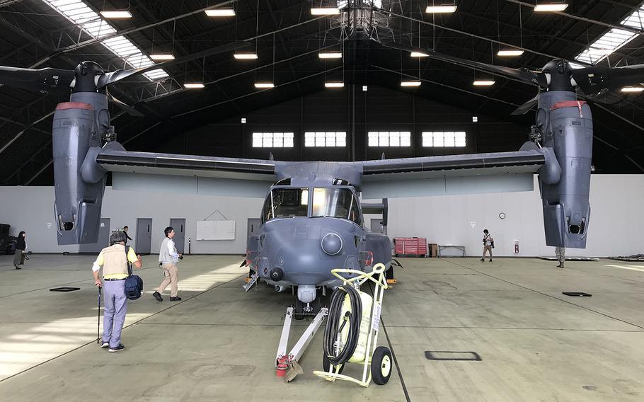 Japanese journalists check out a CV-22 Osprey at Yokota Air Base, Japan, Oct. 3, 2018.