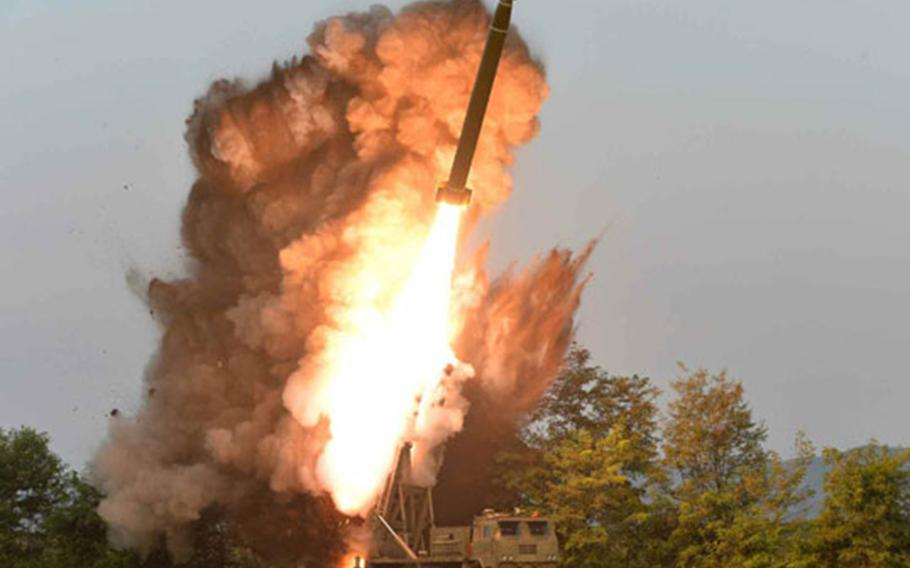North Korea conducts a launch in this undated photo released by the state-run Rodong Sinmun newspaper, Wednesday, Sept. 11, 2019.
