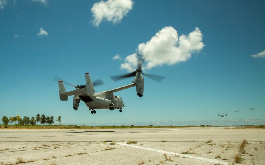 Marine Corps MV-22 Ospreys take flight from Cassidy International Airport, Kiribati, Sept. 20, 2019, during their trans-Pacific flight between Australia and Hawaii.