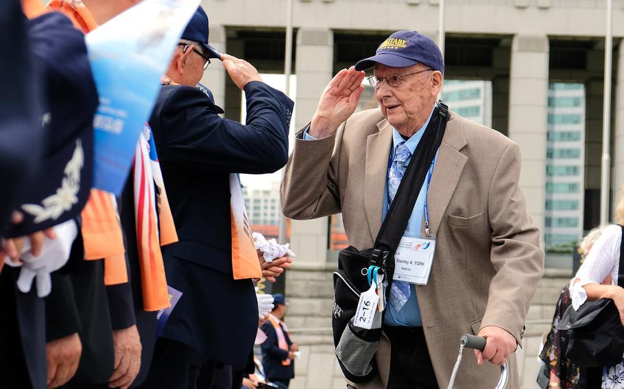 Korean War veteran Stanley York returns a salute at the War Memorial of Korea in Seoul, South Korea, Friday, Sept. 27, 2019.