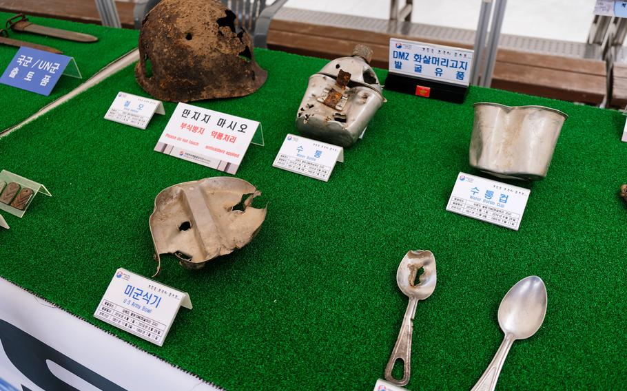 Bullet-riddled Korean War artifacts are displayed at a commemoration ceremony for the 69th anniversary of the battle of Chosin Reservoir at the War Memorial of Korea in Seoul, South Korea on Friday, Sept. 27, 2019.