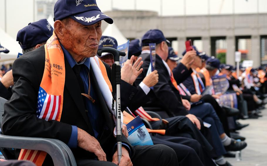 Korean War veterans attend a ceremony marking the 69th anniversary of the Battle of Chosin Reservoir at the War Memorial of Korea in Seoul, South Korea, Friday, Sept. 27, 2019.