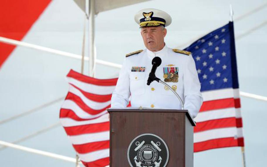 Coast Guard commandant Adm. Karl Schultz speaks during an August 2019 ceremony for the commissioning of two new cutters in Hawaii. Schultz on Monday, Oct. 22, 2019, said the service will homeport three fast-response cutters in Guam within the next two years.
