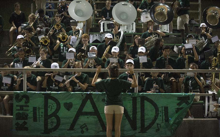 The Kubasaki High School band performs at Mike Petty Stadium during a game against the Camp Humphreys Blackhawks at Camp Foster, Okinawa, Friday, Oct. 25, 2019.