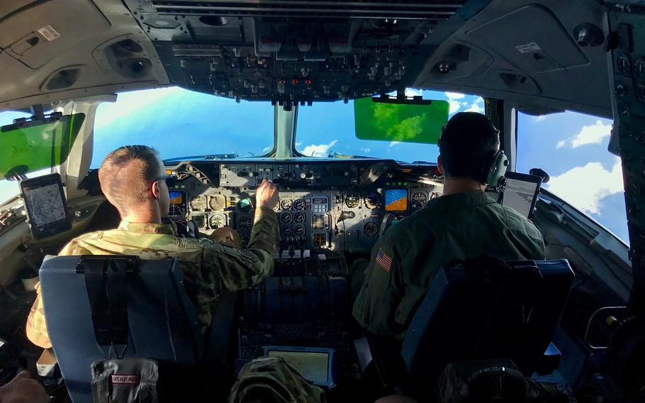 Pilots fly an Air Force KC-10 Extender over the Coral Sea during the Talisman Sabre exercise, July 19, 2019.