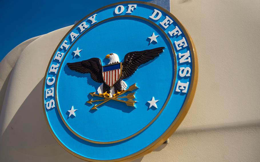 The Secretary of Defense seal is seen on a government plane at Joint Base Andrews in Maryland, Nov. 11, 2019.