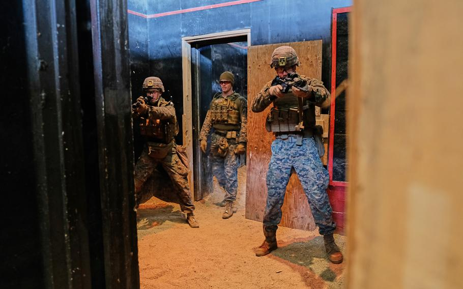Marines from the Fleet Anti-terrorism Security Team-Pacific, Yokosuka Naval Base, Japan, train to clear rooms at Story Live Fire Training Complex, South Korea, Tuesday, Nov. 26, 2019.