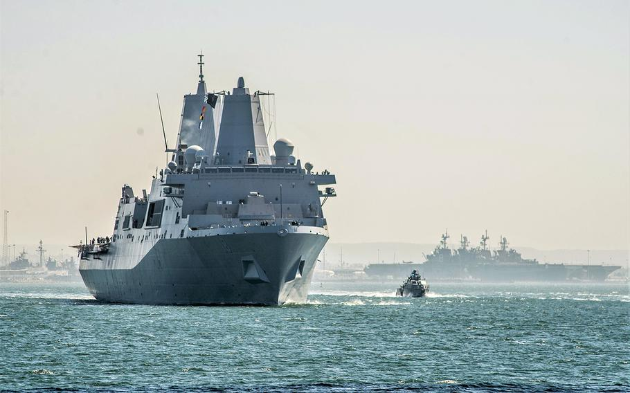 The amphibious transport dock USS New Orleans leaves San Diego for its new homeport at Sasebo Naval Base, Japan, Oct. 15, 2019.