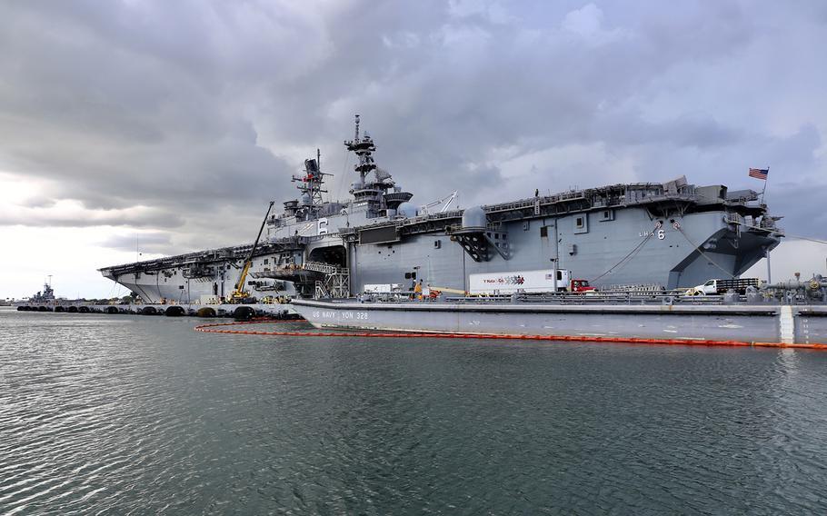 The amphibious assault ship USS America visits Joint Base Pearl Harbor-Hickam, Hawaii, Nov. 21, 2019.